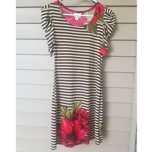 Red Floral Tan & Black Striped Dress, Size M